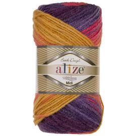 Пряжа Alize Superlana Midi Batik - 6834 оранж/фиолет/мальва, Цвет: 6834 оранж/фиолет/мальва