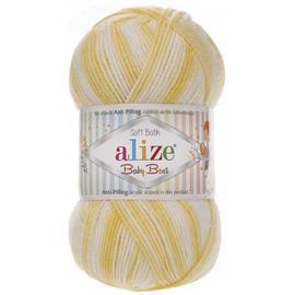 Пряжа Alize Baby Best Batik - 6661 желто-белый, Цвет: 6661 желто-белый