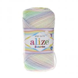 Пряжа Alize Sekerim Batik - 2132 роз/сир/бел/желт, Цвет: 2132 роз/сир/бел/желт