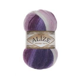 Пряжа Alize Angora Gold Batik - 2630 лиловый/сирен/роз/бел, Цвет: 2630 лиловый/сирен/роз/бел