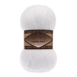 Пряжа Alize Angora Gold Simli - 55 белый, Цвет: 55 белый