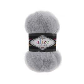 Пряжа Alize Mohair Classic New - 21 серый, Цвет: 21 серый