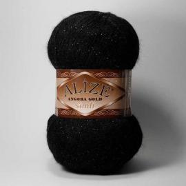 Пряжа Alize Angora Gold Simli - 60 черный, Цвет: 60 черный