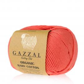 Пряжа Gazzal Organic Baby Cotton - 419 коралл, Цвет: 419 коралл