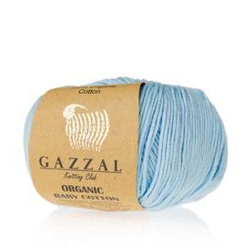 Пряжа Gazzal Organic Baby Cotton - 423 голубой, Цвет: 423 голубой