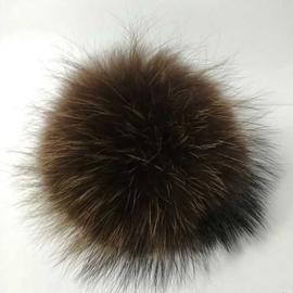Меховой помпон из енота коричневый, Цвет: 5, Цвет помпона: Коричневый