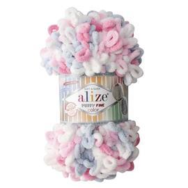 Пряжа Alize Puffy Fine Color - 5945 белый/розов/голубой, Цвет: 5945 белый/розов/голубой
