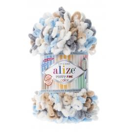 Пряжа Alize Puffy Fine Color - 5946 белый/сер/беж/бирюз, Цвет: 5946 белый/сер/беж/бирюз