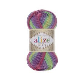 Пряжа Alize Diva Batik - 3241 роз/сир/фист/желт, Цвет: 3241 роз/сир/фист/желт