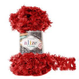Пряжа Alize Puffy Fur - 6109 красный, Цвет: 6109 красный
