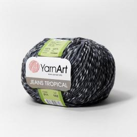 Пряжа Yarnart Jeans Tropical - 611 бело-серый меланж, Цвет: 611 бело-серый меланж