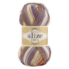 Пряжа Alize Diva Batik - 7391 корич/сливочный/сирень, Цвет: 7391 корич/сливочный/сирень