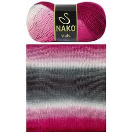 Пряжа Nako Vals - 86082 роз/бел/сер, Цвет: 86082 роз/бел/сер