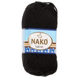 Пряжа Nako Saten 100 - 217 черный, Цвет: 217 черный