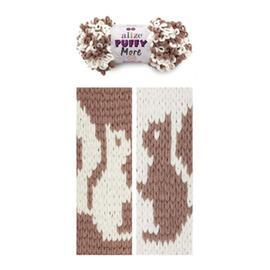 Пряжа Alize Puffy More - 6261 какао/белый, Цвет: 6261 какао/белый