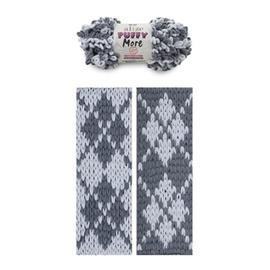 Пряжа Alize Puffy More - 6265 сталь/св.серый, Цвет: 6265 сталь/св.серый