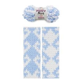 Пряжа Alize Puffy More - 6266 неж.голубой/белый, Цвет: 6266 неж.голубой/белый