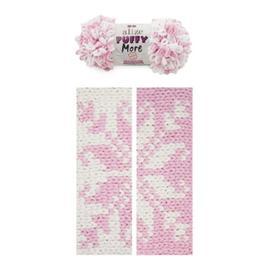 Пряжа Alize Puffy More - 6267 неж.розовый/белый, Цвет: 6267 неж.розовый/белый