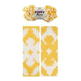 Пряжа Alize Puffy More - 6282 желт/белый, Цвет: 6282 желт/белый