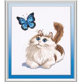 Вышивка крестиком Овен «Стильные вещи для дома» Котенок и бабочка, 25х30 см.