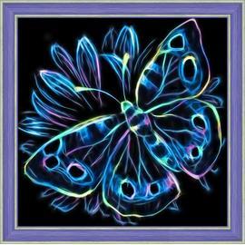 Алмазная вышивка Мосфа Неоновая бабочка, 25х25 см