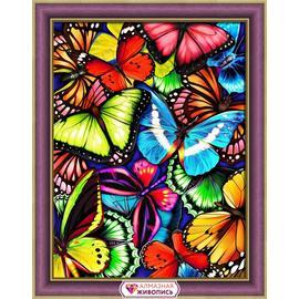 Алмазная вышивка Мосфа Яркие бабочки, 30х40 см.