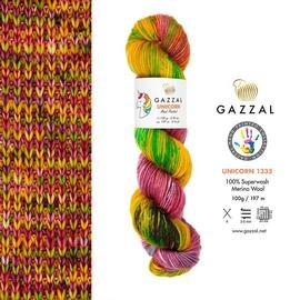 Пряжа Gazzal Unicorn - 1335 желт/вишня/синий, Цвет: 1335 желт/вишня/синий
