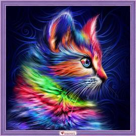 Алмазная вышивка Мосфа Разноцветный котенок, 30х30 см