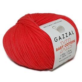 Пряжа Gazzal Baby Cotton XL - 3458 алый, Цвет: 3458 алый