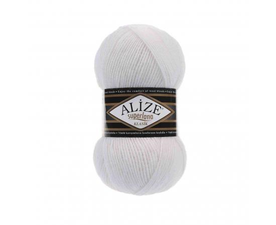 Пряжа ALIZE SUPERLANA KLASIK 55 белый, Цвет: 55 белый