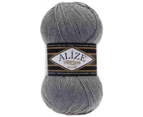 Пряжа ALIZE SUPERLANA KLASIK 21 серый меланж, Цвет: 21 серый меланж