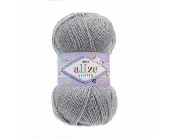 Пряжа ALIZE SEKERIM BEBE 344 серый, Цвет: 344 серый