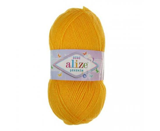 Пряжа ALIZE SEKERIM BEBE 566 т.желтый, Цвет: 566 т.желтый