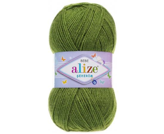Пряжа ALIZE SEKERİM BEBE 210 зеленый, Цвет: 210 зеленый