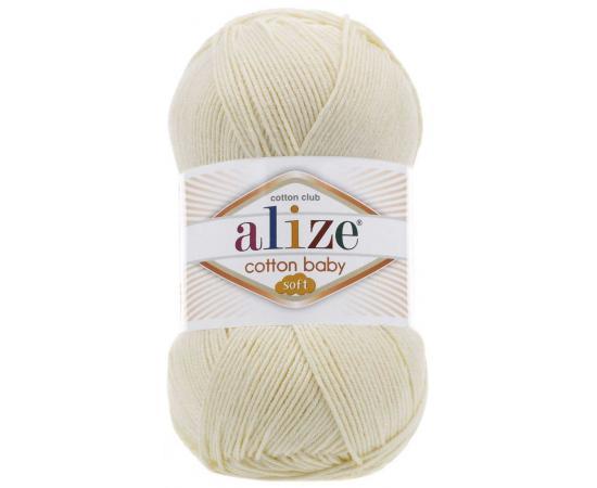 Пряжа ALIZE COTTON BABY SOFT 01 кремовый, Цвет: 01 кремовый