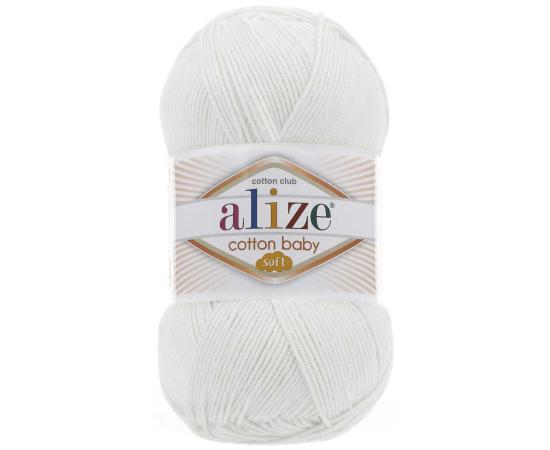 Пряжа ALIZE COTTON BABY SOFT 55 белый, Цвет: 55 белый