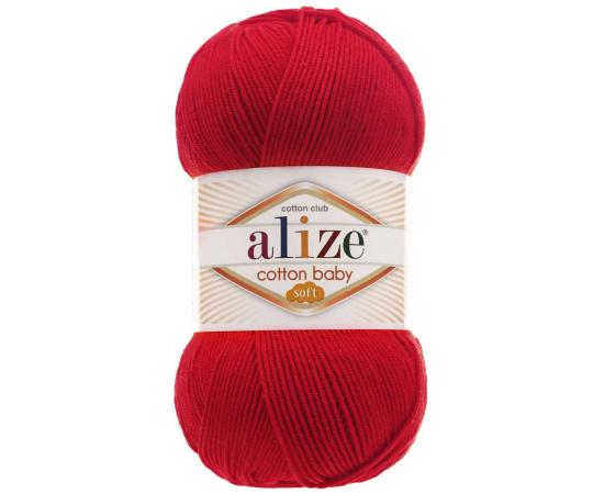 Пряжа ALIZE COTTON BABY SOFT 56 красный, Цвет: 56 красный