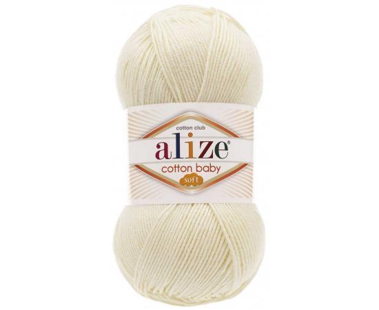 Пряжа ALIZE COTTON BABY SOFT 62 молочный, Цвет: 62 молочный