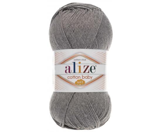 Пряжа ALIZE COTTON BABY SOFT 197 темно-серый меланж, Цвет: 197 темно-серый меланж