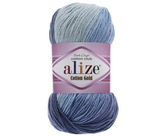 Пряжа ALIZE COTTON GOLD BATIK 3299 син/голуб/бел, Цвет: 3299 син/голуб/бел