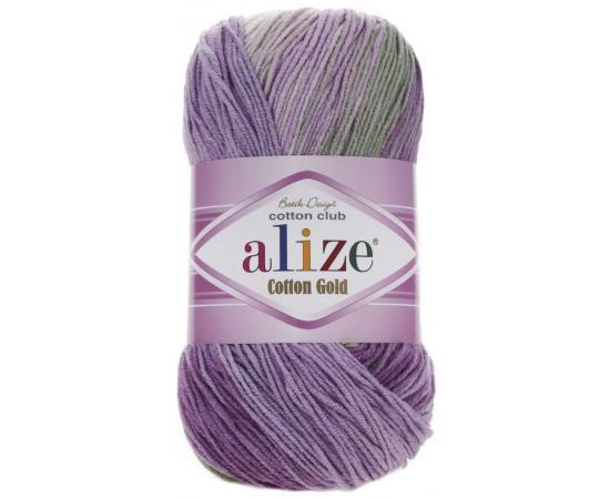 Пряжа ALIZE COTTON GOLD BATIK 4149 сирен/фиол/зел/беж/бел, Цвет: 4149 сирен/фиол/зел/беж/бел
