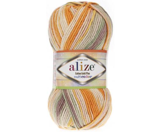 Пряжа ALIZE COTTON GOLD PLUS MULTICOLOR 52176 оранжевый принт, Цвет: 52176 оранжевый принт