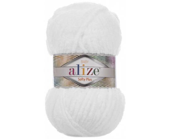 Пряжа ALIZE SOFTY PLUS 55 белый, Цвет: 55 белый