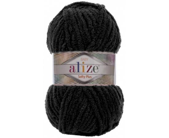 Пряжа ALIZE SOFTY PLUS 60 черный, Цвет: 60 черный