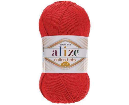 Пряжа ALIZE COTTON BABY SOFT 259 алый, Цвет: 259 алый