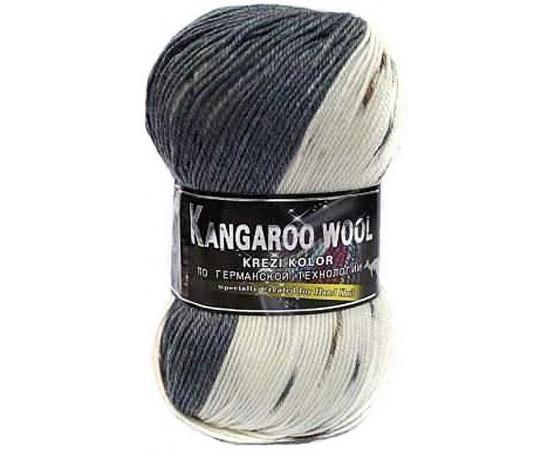 Пряжа COLOR CITY KANGAROO WOOL CRAZY COLOR 15 бел/серый, Цвет: 15 бел/серый