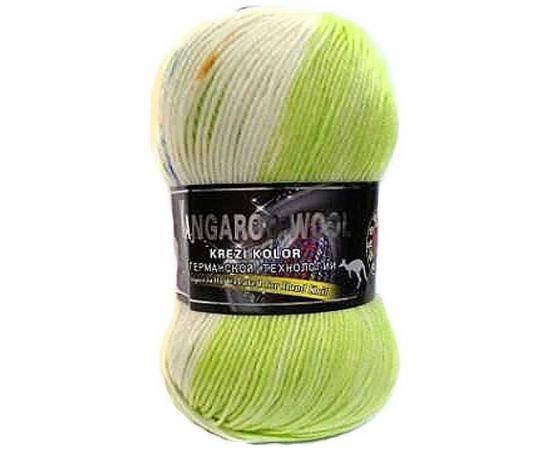 Пряжа COLOR CITY KANGAROO WOOL CRAZY COLOR 6612 бел/салат, Цвет: 6612 бел/салат