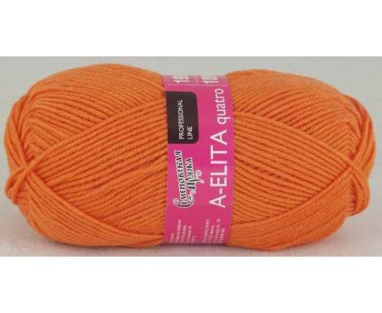 Пряжа Семеновская АЭЛИТА КВАТРО 670 морковный, Цвет: 670 морковный