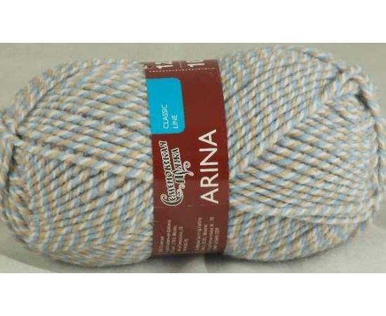 Пряжа Семеновская АРИНА ПШ 1642 мозаика 62 беж/голубой, Цвет: 1642 мозаика 62 беж/голубой