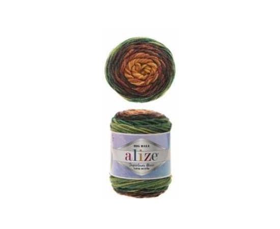 Пряжа ALIZE SUPERLANA MAXI LONG BATIK 6775 вишня/зелень, Цвет: 6775 вишня/зелень, изображение 2